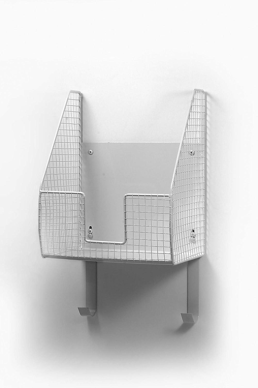 Spectrum Diversified, Heat-Resistant Ironing Board Holder Open Wire Storage Basket, Laundry Room Décor & Organization, White