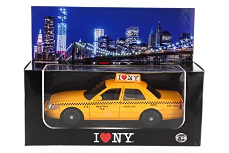 I LOVE NEW YORK NYC YELLOW TAXI FORD CROWN VICTORIA 2010 CAR DIE CAST 1:24 SCALE