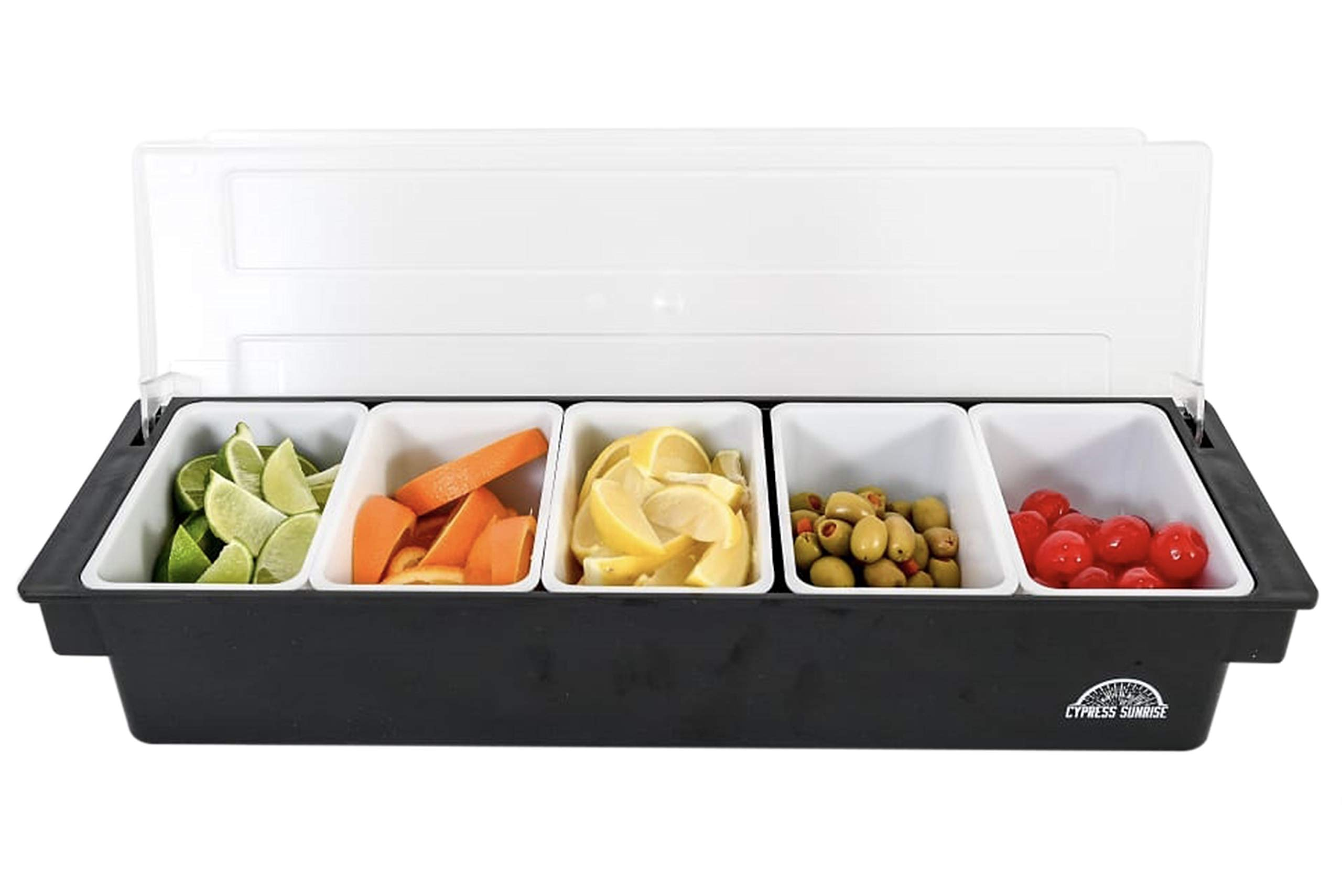 Fruit, Veggie & Condiment Caddy with Lid - Dispenser Tray For Candy, Dips & Salad Toppings | Bar Supplies For Catering & Parties | 5 x 20 Oz Compartments | Garnish Organizer Station for Restaurants by Cypress Sunrise