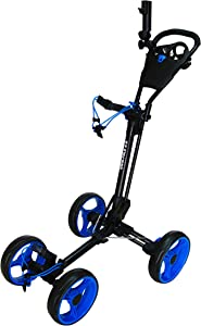 Qwik-Fold 4 Wheel Folding Push Pull Golf CART - Foot Brake - ONE Second to Open & Close!