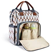 Diaper Bag Backpack by HYBLOM, Waterproof Multi-Function Diaper Backpack, Durable 12 Compartment Pockets, Brown