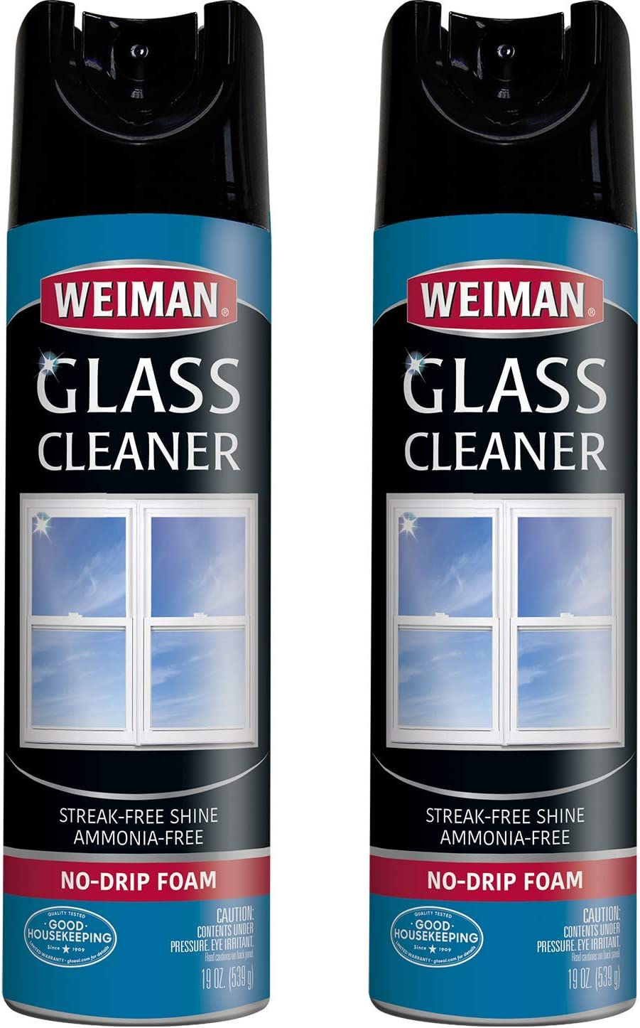 Weiman Glass Cleaner - 19 Ounce (2 Pack) - Non-Toxic Professional Streak-Less foaming No Drip Removes Grease Dissolves Fingerprints and Smudges