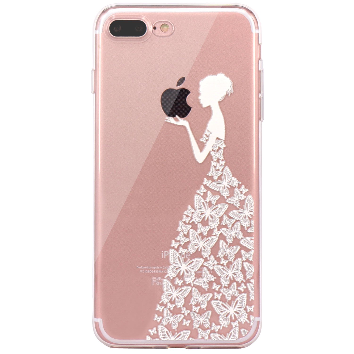 iPhone 6 Case, JAHOLAN Amusing Whimsical Design Clear Bumper TPU Soft Case Rubber Silicone Skin Cover for iPhone 6 6S - White Beautiful Butterfly Girl 4335001063