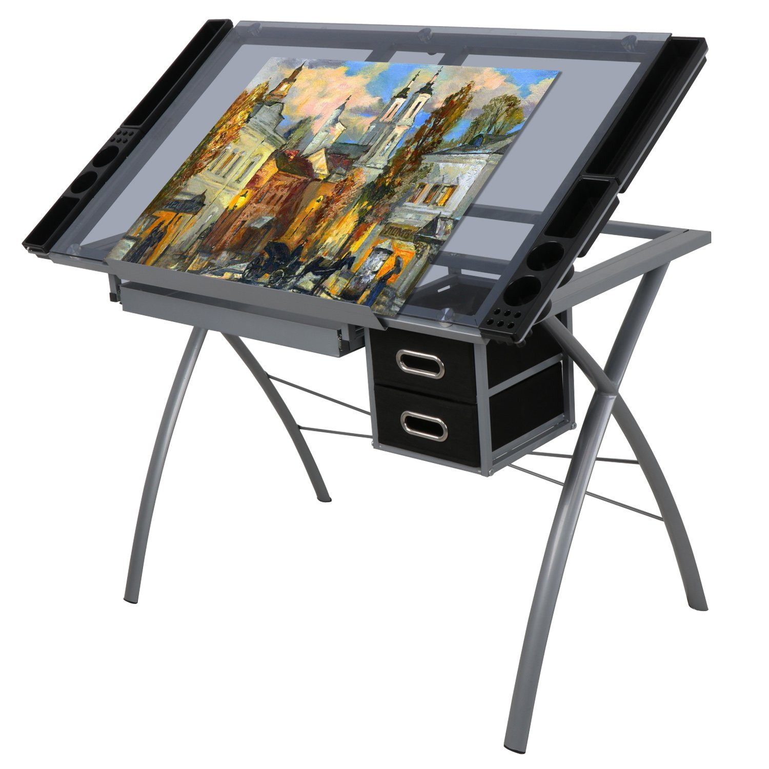 ZENY Glass Top Craft Station Drafting Table Drawing Desk Adjustable to 62 Degree w/ Drawers by ZENY