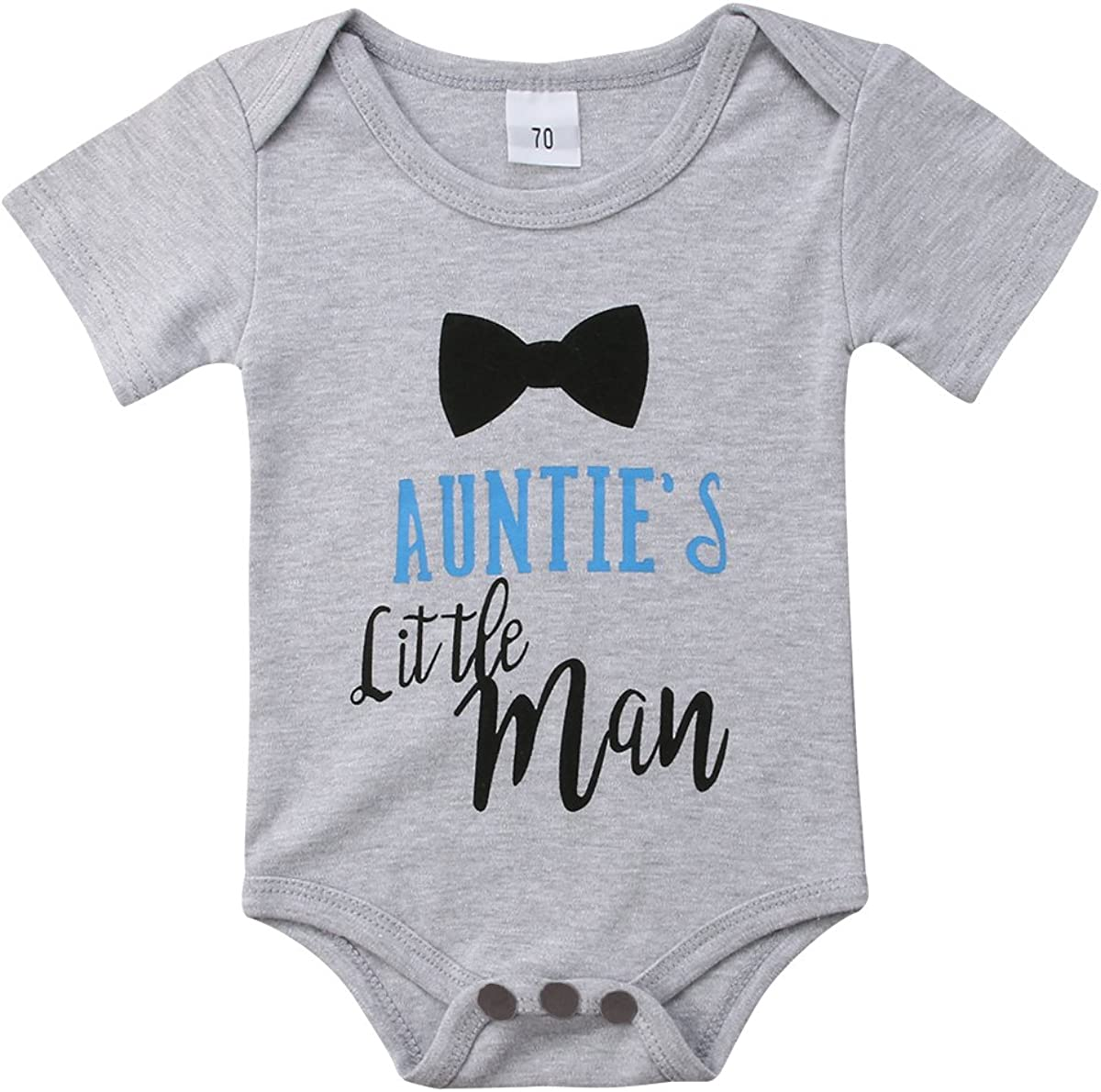Infants Baby Boy Aunties Little Man Long Sleeve Bodysuits Rompers Outfits