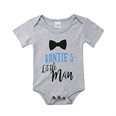dc02812064a Infants Baby Boy Auntie s Little Man Short Sleeve Bodysuits Rompers Outfits  (Grey