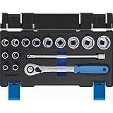 """GEDORE 19 DMU-20 Steckschlüsselsatz 1/2"""" mit Umschaltknarre / 15-tlg. Stecknuss-Satz mit 1/2""""-Steckschlüsseln und umschaltbarer Ratsche & Verlängerung/Adapter"""