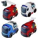 BYJia Set di 4 Attrito Potenza Auto di Soccorso con Audio Veicoli Fire Truck Polizia Ambulanza Grande Dono per i Bambini