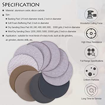 103pcs 2 Inch Dry /& Wet//Dry Hook Loop Sanding Discs Assortment Kit Multiple Grits 80-10000 Abrasive Sandpapers with 1//4 inch Shank Backing Pad and Soft Foam Buffering Pad for Wood Metal Polishing