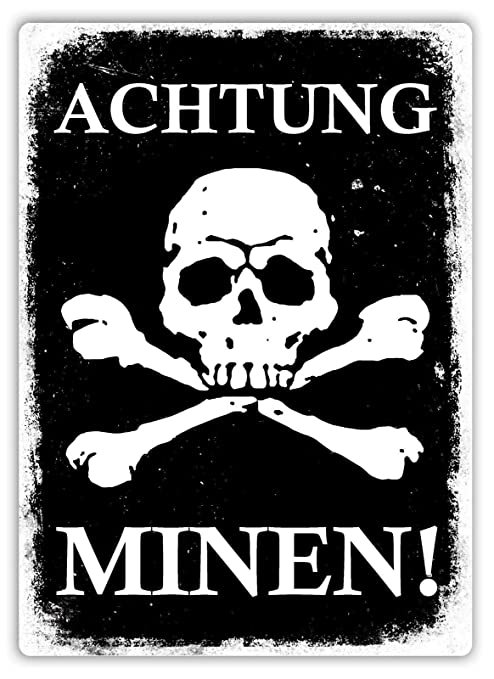 HiSign Achtung Minen Cartel de Pared de Chapa Retro Hierro ...