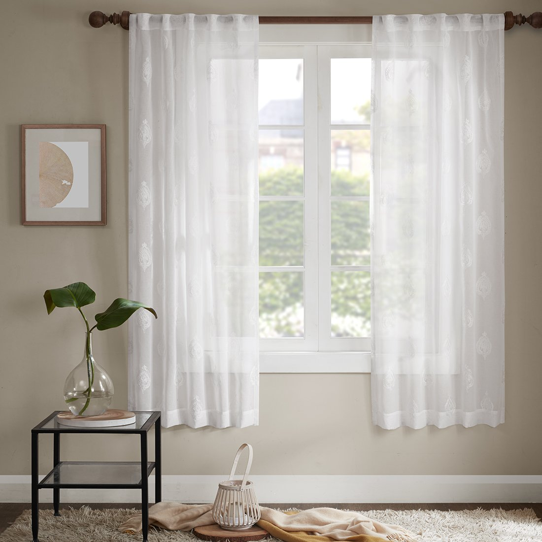 Aria Off White Curtains Bedroom Curtain - Classical Embroidery Voile Ultra Sheer High Thread with Rod Pocket & Back Tab (39