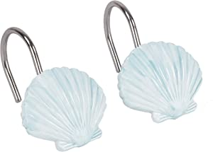 SKL Home by Saturday Knight Ltd. Seaside Blossoms Shower Curtain Hooks, White, Set of 12