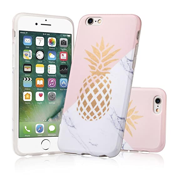 finest selection ddb22 b7d33 Amazon.com: iPhone 6 Case,LACK Shiny Gold Pineapple Teal Marble ...
