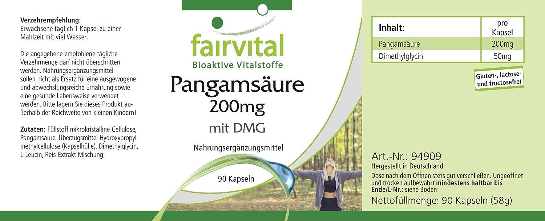 200 mg pangámico ácido de DMG - GRANEL durante 3 meses - VEGAN - ALTA DOSIS - 90 cápsulas - dimetilglicina: Amazon.es: Salud y cuidado personal