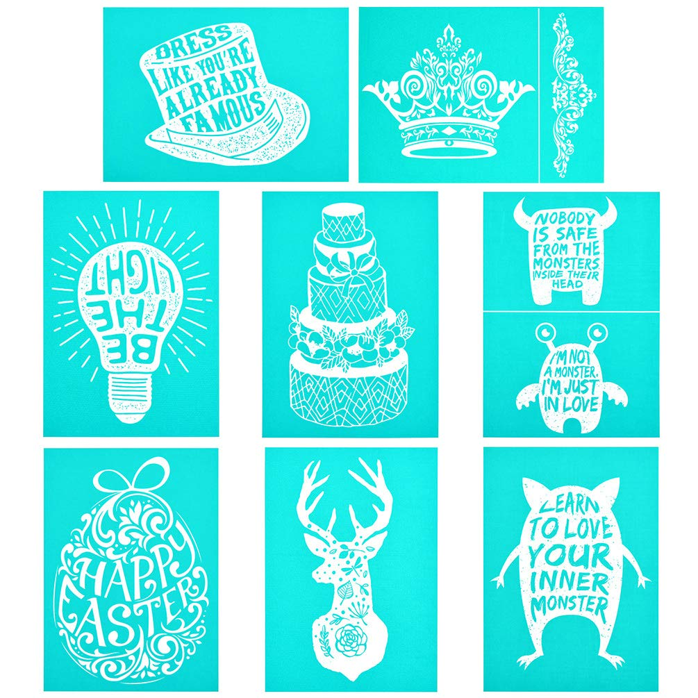 Elk YeulionCraft Self-Adhesive Silk Screen Stencils Mesh Transfers Reusable Sign Stencils DIY Festival Painting on Wood Home Decor