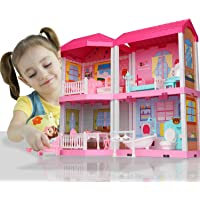 Temi DIY Dollhouse Building Kit with Furniture, Toy Figures for Toddlers, Boys & Girls(4 Rooms)