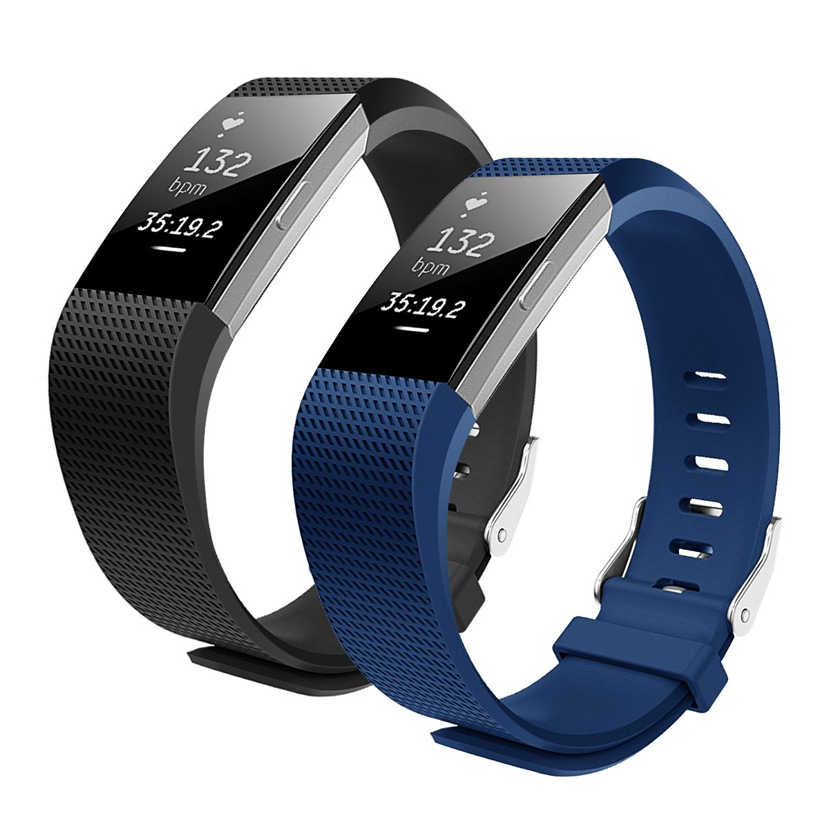 bepackバンドfor Fitbit Charge 2、ソフトTPU調節可能交換スポーツストラップバンドfor Fitbit Charge 2 Smartwatchハートレートフィットネスリストバンド B01MYG3OWS ブラック+ブルー Large(5.6-8.1 in)