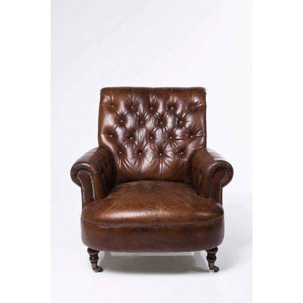 Sessel Cigar Lounge Vintage mit braunem Lederbezug und stylischen Rollen