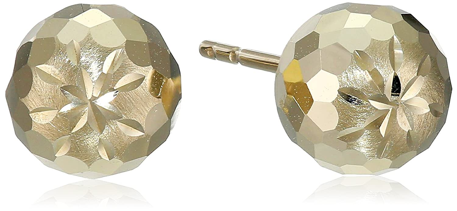 14k Yellow Gold D-Cut Ball Studs Amazon Collection IMD-XXBE0007MM-DC-4