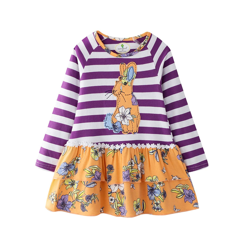 BIBNice Toddler Girls Cotton Longsleeve Casual Dresses 18M-7T