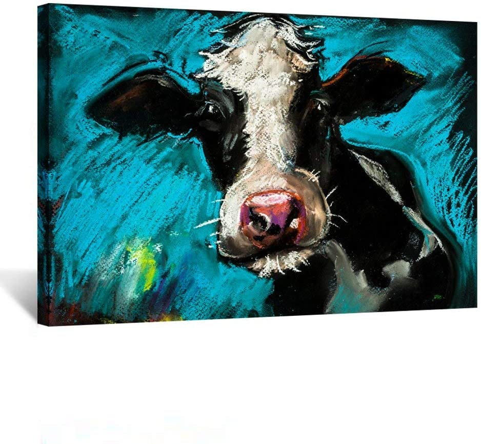 Kreative Arts - Modern Blue Cow Canvas Painting Wall Art for Home and Office Decoration Canvas Prints Giclee Artwork for Wall Decor 16x24inch