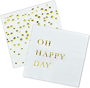 Gold Cocktail Napkins, Wedding Party Napkins - 3-Ply Disposable Paper Napkins for Wedding Reception, Engagement Party, Bridal Shower, Birthday, Oh Happy Day and Confetti Dots Set by Sunshine Supply