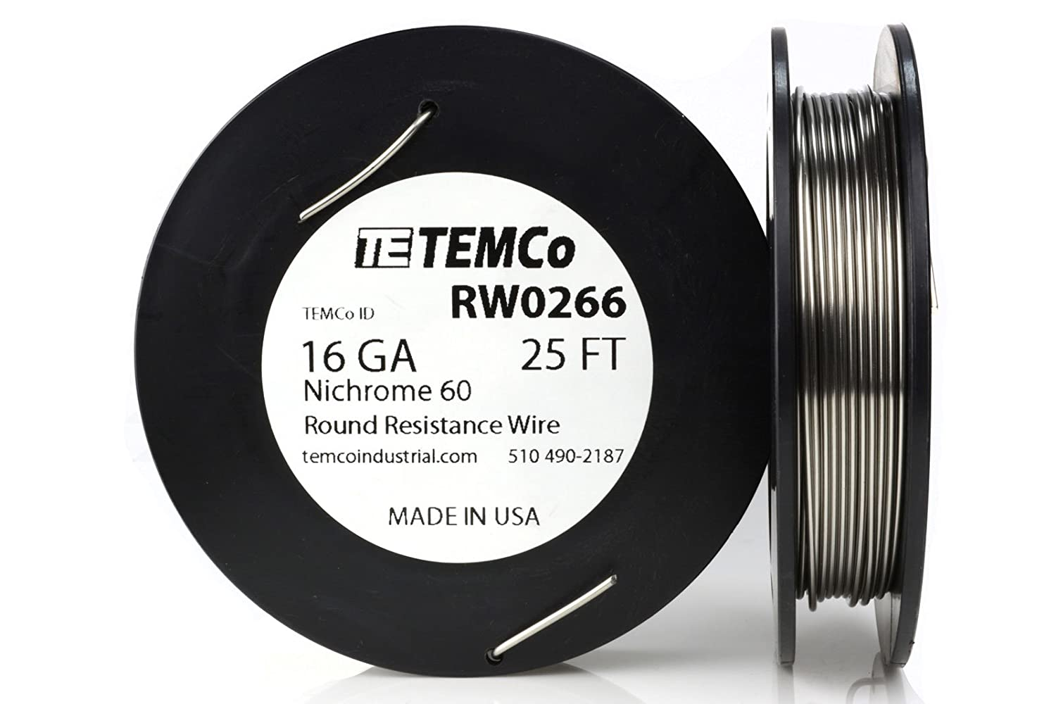 TEMCo Nichrome 60 series wire 16 Gauge 1 lb (138 ft) Resistance AWG ...