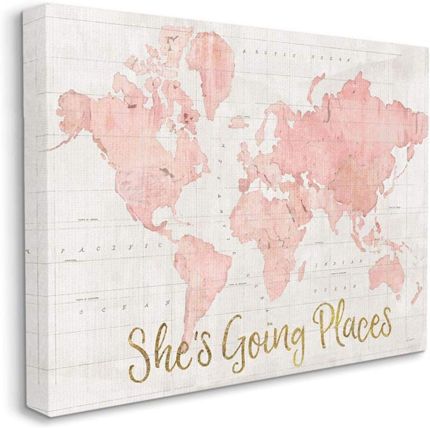 """Stupell Industries She's Going Places Quote Pink Watercolor World Map, Canvas, ab-961_cn_16x20, 16 x 20"""""""