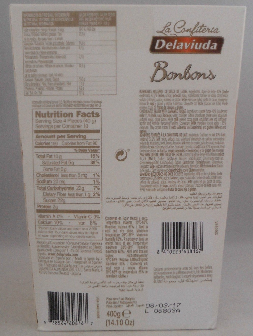 Amazon.com : Delaviuda Extra Large Box Of Caramel Cream Bonbons - 14.10Oz (400g) - Bonbons Dulce De Leche - Product Of Spain : Grocery & Gourmet Food