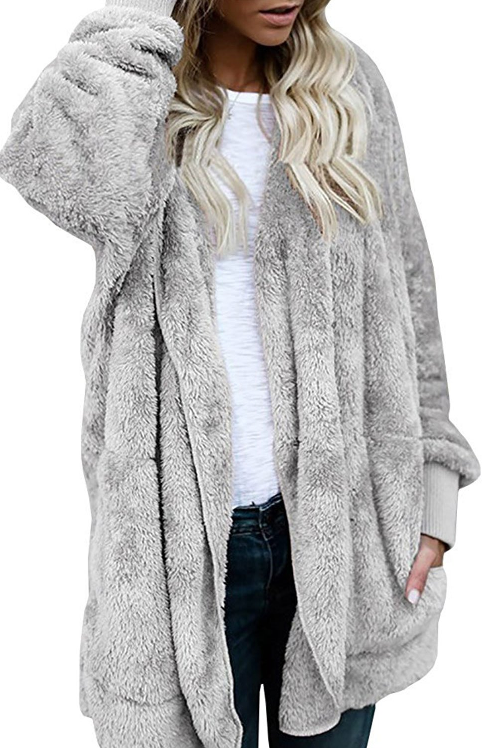 Women Fashion Fleece Sherpa Jacket Hooded Coat with Pocket Winter Warm Outwear Gray by Fantasy Star (US 16-18)XL