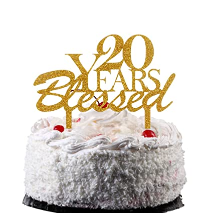 Amazon 20 Years Blessed Cake Topper Acrylic Decor For