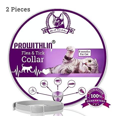 prowithlin Collar Antipulgas y Antigarrapatas para Gatos, Collar Impermeable Ajustable, Solución Natural contra Pestes para Gatos Jóvenes, 36 cm 8 ...