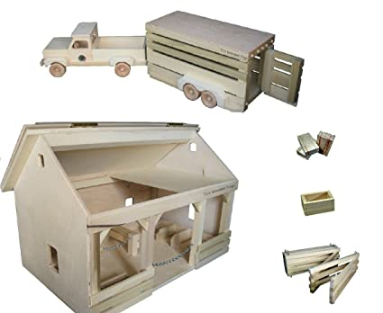 Amazon.com: Amish made Wooden Toy A-Frame Barn, Pickup Truck and ...