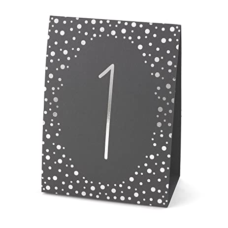 Hortense B Hewitt Wedding Accessories Polka Dot Table Tents Silver Foil Numbers 1