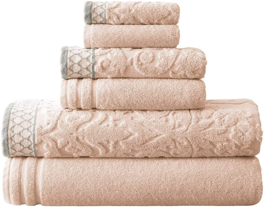 Amrapur Overseas 6-Piece Damask Jacquard/Solid Ultra Soft 550GSM 100% Combed Cotton Towel Set with Embellished Borders [Peach]