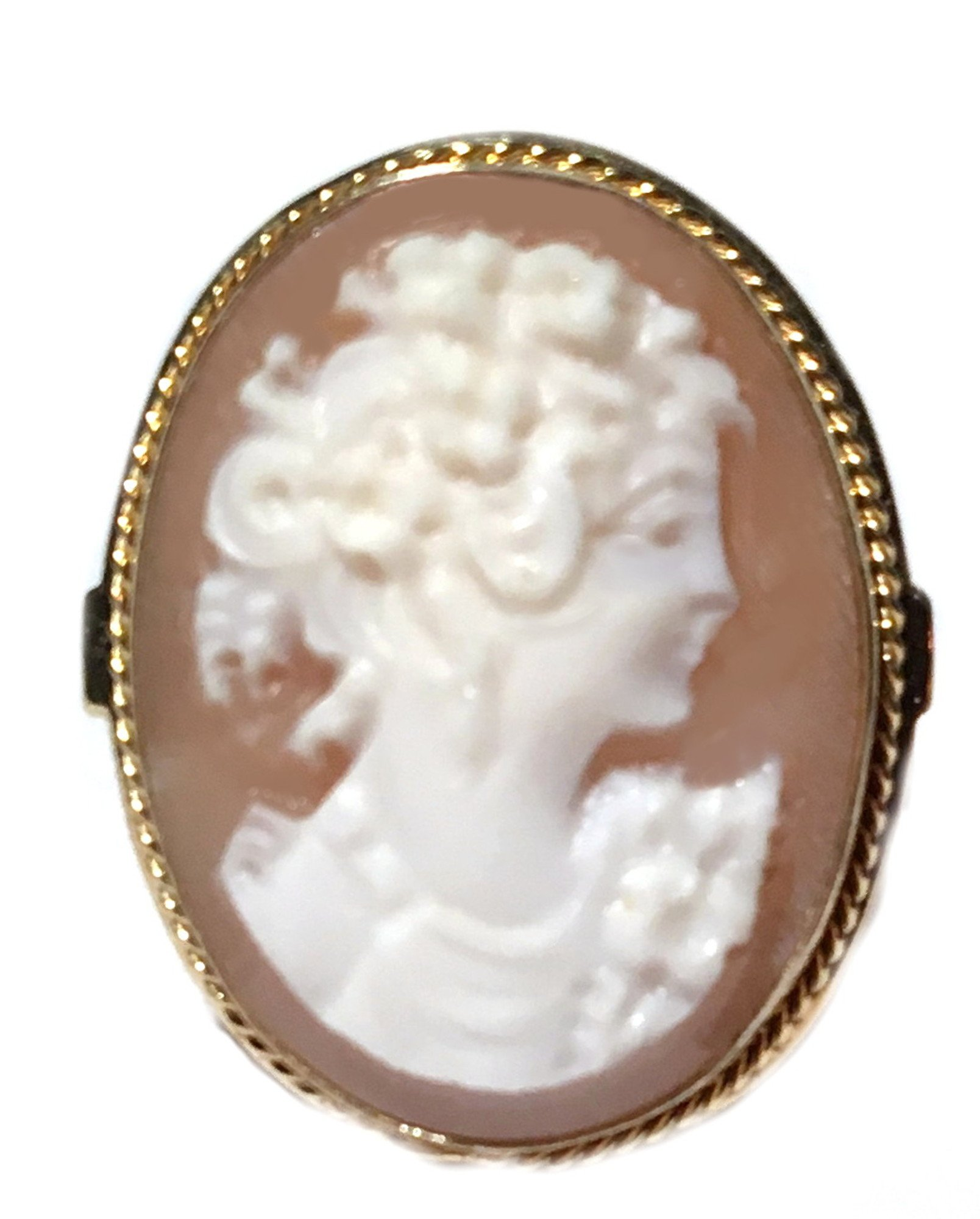 Cameo Ring Italian Master Carved, Conch Shell Summer Dream Sterling Silver Size 7.5