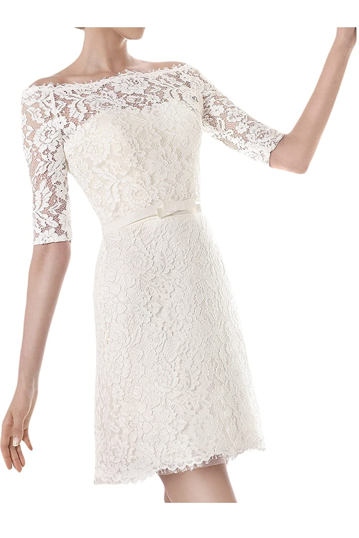 Ivydressing Damen U-Ausschnitt Halb-Aermel Kurz Abendkleid Brautkleid Hochzeitskleid