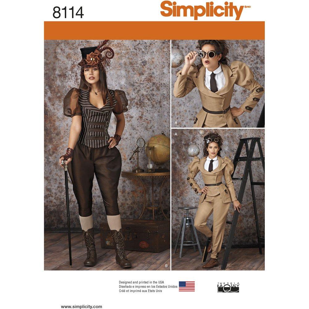 Simplicity-Cartamodello per costumi da Carnevale, da donna, stile Steampunk, di carta US8114R5