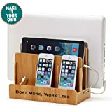 G.U.S. Personalized Monogrammed Multi-Device Charging Station Dock & Organizer - Multiple Finishes Available. For Laptops, Tablets, and Phones - Strong Build, Eco-Friendly Bamboo