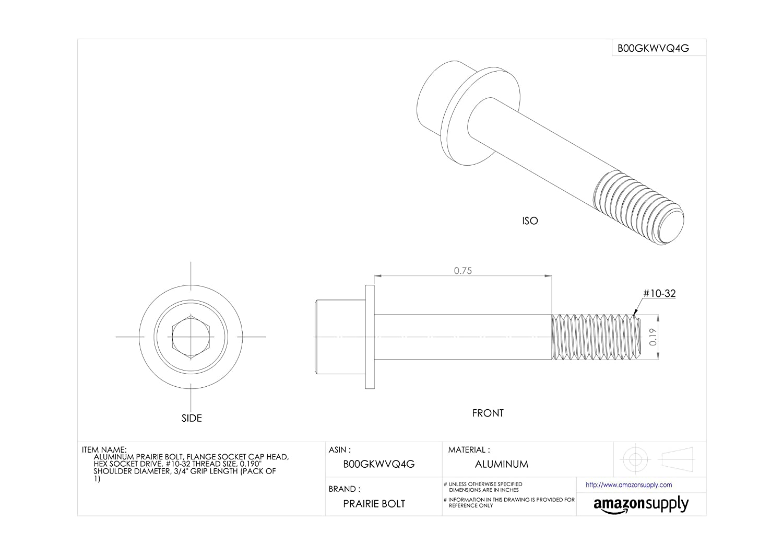 0.190 Shoulder Diameter #10-32 Thread Size Made in US Aluminum Prairie Bolt Flange Socket Cap Head Plain Finish Pack of 1 3//4 Grip Length Hex Socket Drive 0.190 Shoulder Diameter 3//4 Grip Length Accurate Manufacturing ZPS72010F12