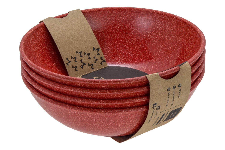EVO Sustainable Goods 942 35 oz Dinnerware Bowl Set, Red