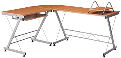 amazon com homcom 67 wooden corner l shaped computer desk with rh amazon com l shaped desk with two keyboard trays l shaped desk with drawers and keyboard tray