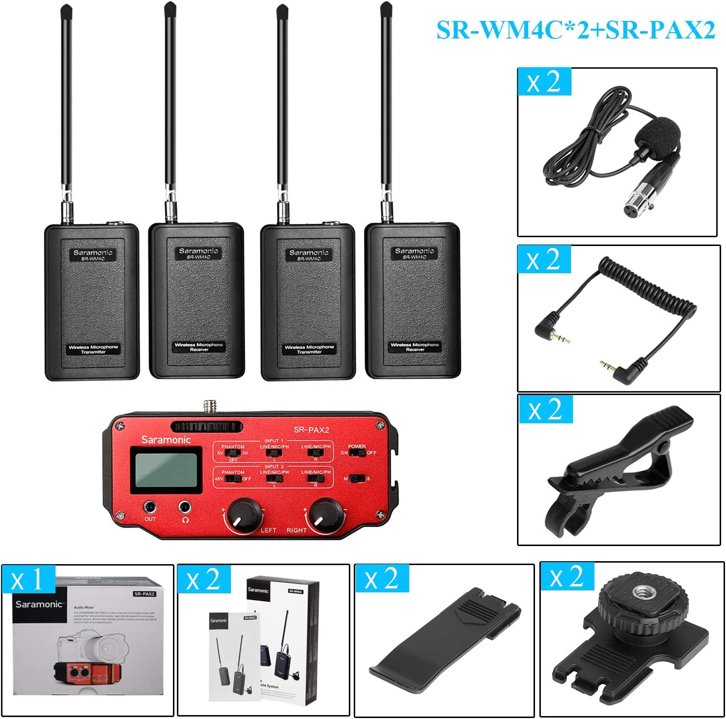 Saramonic SR-AX104 2 Channel XLR Audio Adapter with Phantom Power and Monitor Red//Black