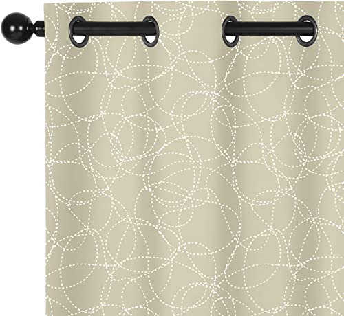 Sophia William 52 W x 95 L Blackout Curtains with Grommets Thermal Insulated, Hot Stamping Silver Stitched Swirl Pattern – 2 Panels, Pearled Ivory