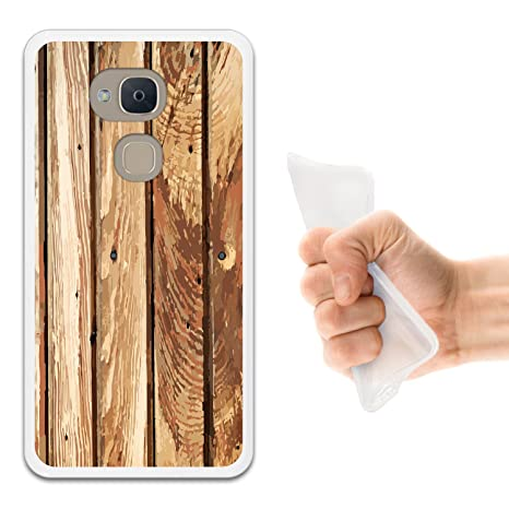 WoowCase Funda Bq Aquaris V Plus, [Bq Aquaris V Plus ] Funda Silicona Gel Flexible Madera Natural, Carcasa Case TPU Silicona - Transparente
