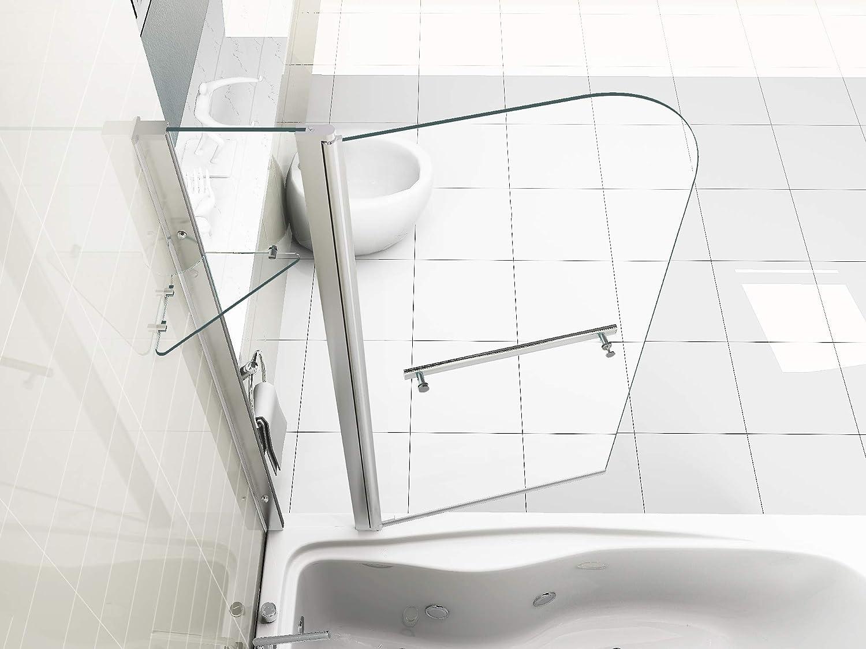 HNNHOME - Mampara de Cristal para Ducha, Panel Doble con pivote de 180°, Grosor de 6 mm, con Colgador de Toalla: Amazon.es: Hogar
