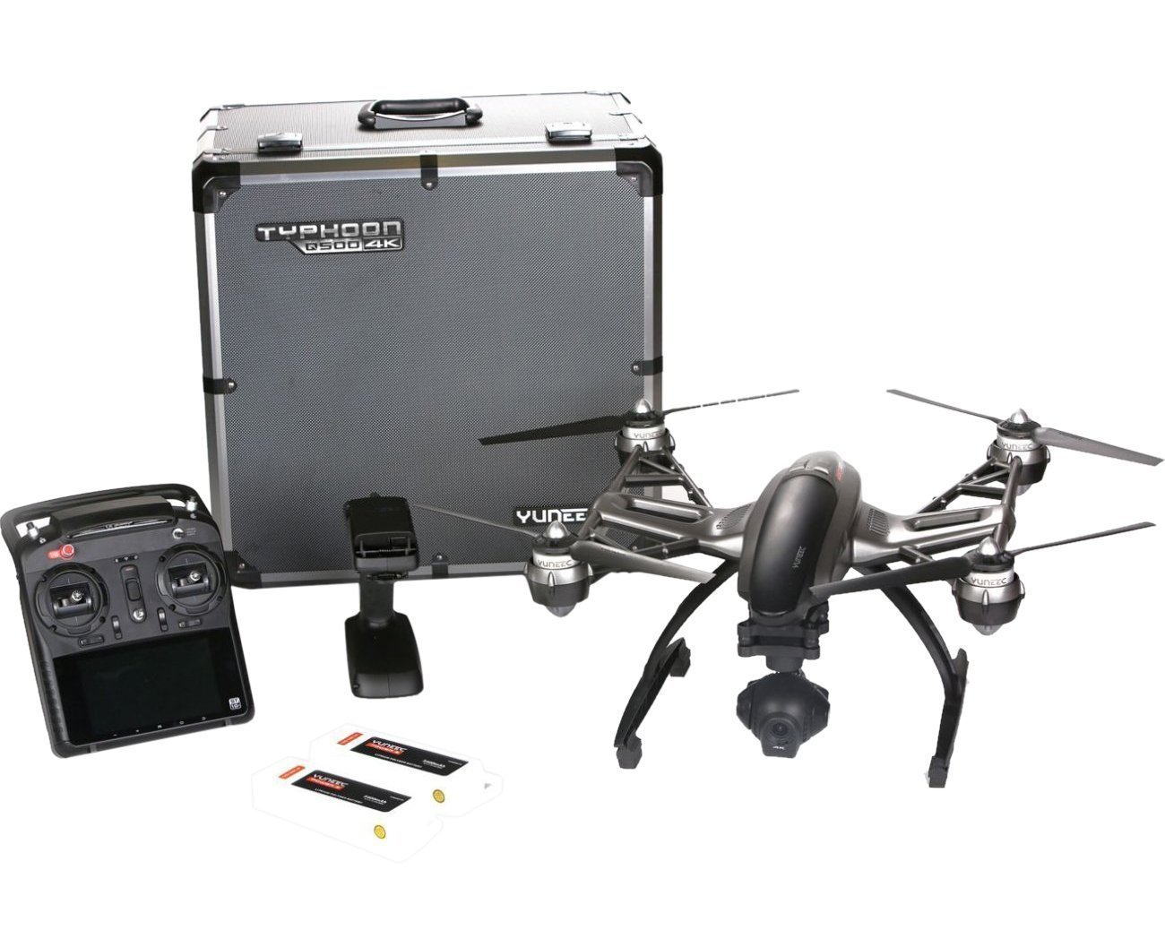 Yuneec Q500 4K Typhoon Quadcopter Drone RTF in Aluminum Case with CGO3 Camera, ST10+ & Steady Grip (Certified Refurbished)