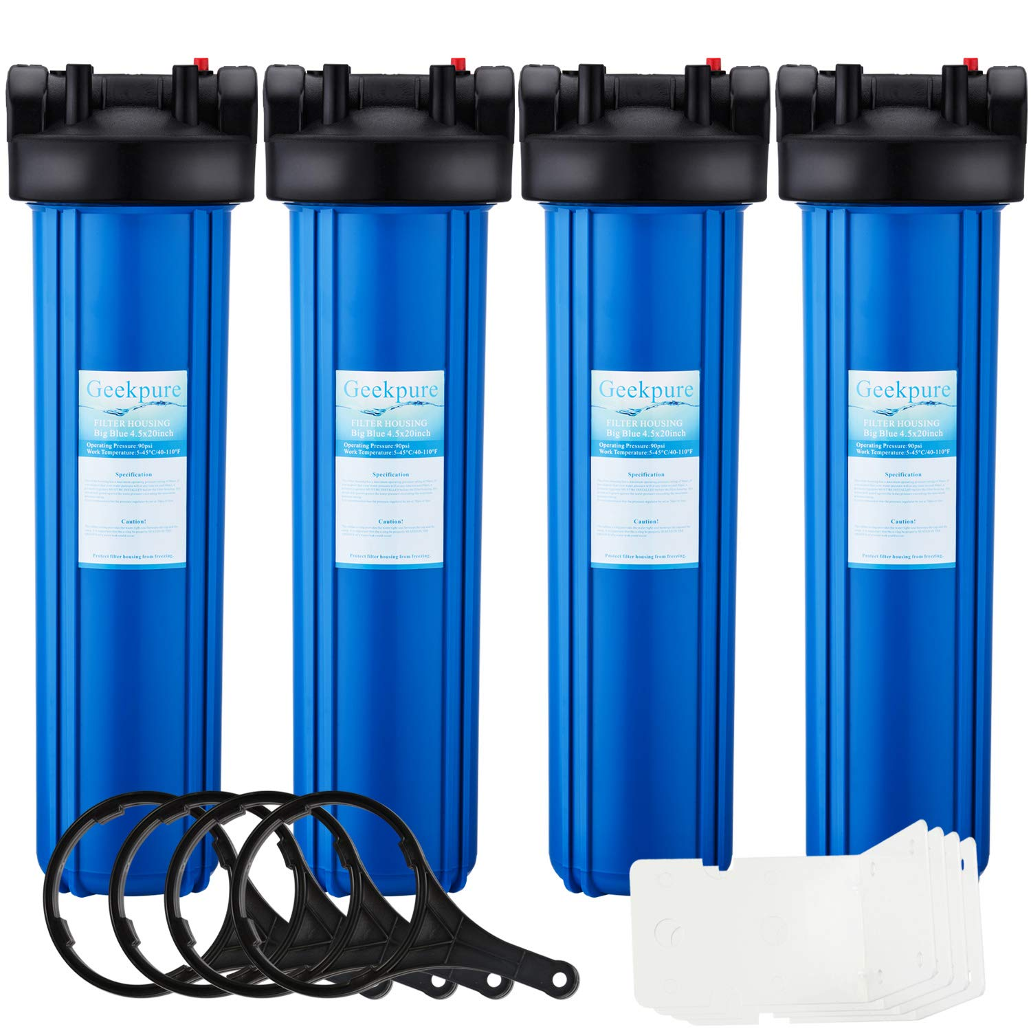 Geekpure Whole House Big Blue Water Filter Housing 1-Inch Outlet/Inlet with Wrench and Bracket -4.5 Inch x 20 Inch -Blue Color(Pack of 4) by Geekpure