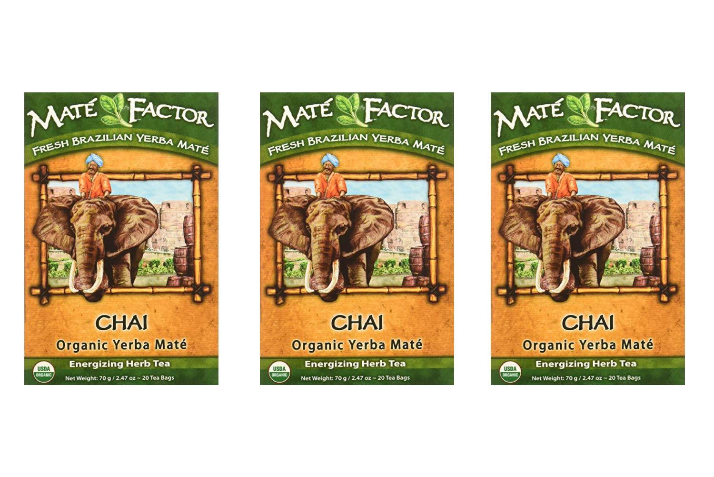 The Mate Factor Organic Yerba Mate Tea Chai -- 20 Tea Bags (3 Pack)