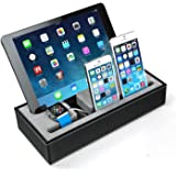 2 in 1 Bamboo iWatch Stand Ocr ™ Premium Wood Cell Phone Multi-Charging Bracket Docking Station Cradle for Both 38mm and 42mm Holder for iPhone (Multi Stand)